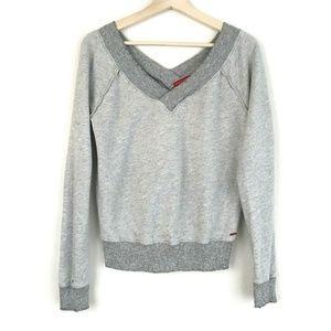 N Philanthropy Grey Distressed V Neck Sweatshirt